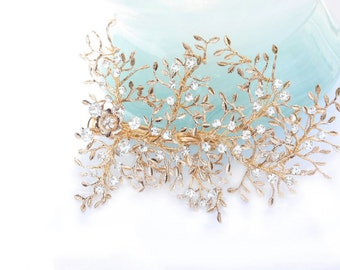 Gold Hair Comb, Wedding Hair Comb,Bridal Hair Comb,Wedding Hair Accessories,Bridal Hair Vine, Bridal Jewelry, Vintage Inspired Hair Comb