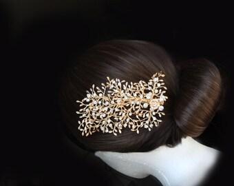 gold hair comb,wedding hair comb,branch flower hair comb,leaf leaves hair comb,swarovski crystal rhinestone bridal hair comb,gold hair clip