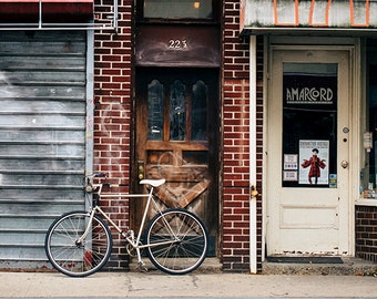 Art, Photography, Bike Image, City Print, Urban Art, Bicycle Print, Home Decor, Loft, Apartment Art, Brown, Gray, Rust Tones