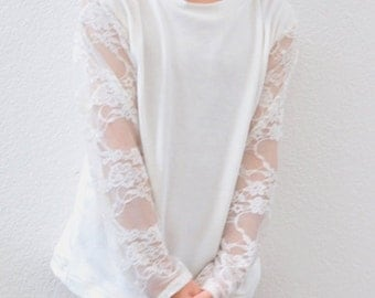 Lace Sleeve Layering Shirt Available in 4 Colors / Long Sleeve Layering Shirt for Girls