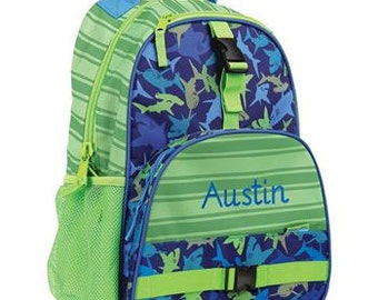 Personalized Monogrammed Stephen Joseph All over print Shark Backpack --Fast Turnaround--Free Monogramming--