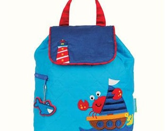 SHIPS NEXT DAY--Personalized Monogrammed --New Pattern Stephen Joseph Kid Quilted Nautical crab sailboat  Backpack-Free Monogramming-