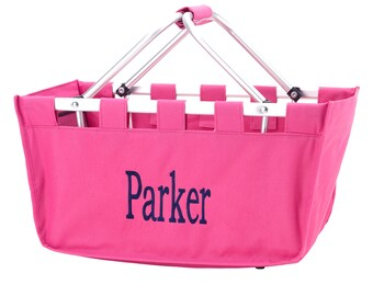 SHIPS NEXT DAY---Monogrammed Large Hot Pink Market Tote Basket --Free Monogramming--The Perfect Birthday Gift---