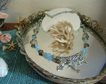 Beach Wedding -Sea Life Necklace with Blue Quartz Beads Silver Accents- Perfect for Beach Wedding, or Everyday wear
