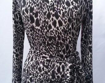 Black & White Leopard print Wrap Dress