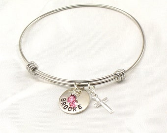 Personalized Bangle Bracelet -  Name Charm with Birth Crystal and Silver Cross Charm - Expandable - Confirmations, Baptism, First Communions