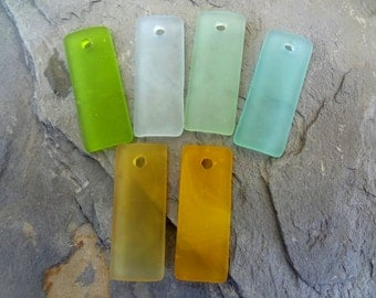 Sea Glass Pendant, Bottle-Curved Thin Rectangle, 35x14mm, Olivine, Coke Bottle Green, Peridot, Autumn Green, Desert Gold, Saffron, Per Piece