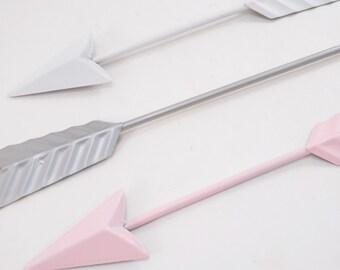 Metal Arrow Wall Decor / Arrow Decoration / Pink /Silver / White / Wall Arrow Hanging