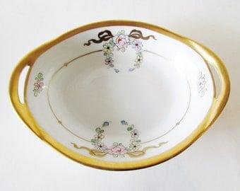 1930s Pickard Dish, Gilded Floral Pin Dish, Bon Bon Dish, Handpainted