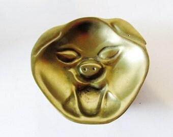 Vintage Brass Pig Trinket Tray, Hollywood Regency