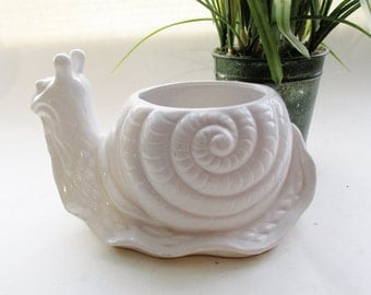 Blanc de Chine Snail, Chinoserie, Palm Beach Decor, White Snail Planter