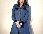 90s blue denim velvet collar long sleeve mini dress size small