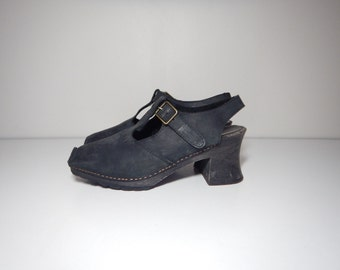 90s goth black leather wooden mary jane clogs 9.5