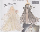 """Wedding Gown Pattern For Fashion Doll 15 1/2"""" Couturier Bridal Uncut Simplicity 5713 Series 6"""