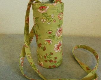Insulated Water Bottle Carrier - Green Floral