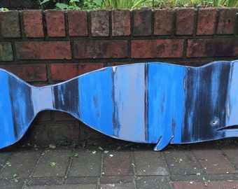 Whale Sign Beach House Weathered Wood Wooden Nautical Beach House Decor by CastawaysHall