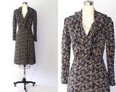 1970s Ruffled Floral Dress // Vintage Long Sleeve Black Rayon Surplice Dress // Small