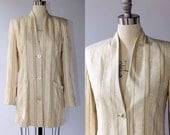 SALE // Salvatore Ferragamo Jacquard Silk Jacket // Bergdorf Goodman on the Plaza // Collarless Striped Blazer // Large