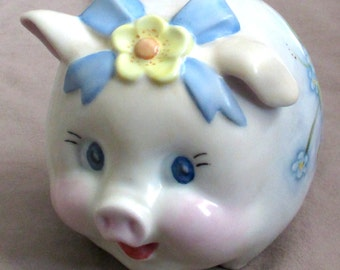 Piggy Bank, hand painted dated 1980