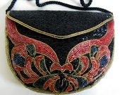 Vintage 1960s Beaded Clutch Red Black Glass 60s Bead Evening Handbag