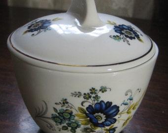 Vintage Royal Tara Mayonnaise Jar; Blue Corn Flower Pattern, Hand Made in Galway, Fine Bone China, Made in Ireland, 1 Piece