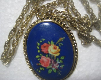 """Vintage Pendant Necklace, 1980s Double Sided Floral and Mirror Pendant, 2""""x1 1/2"""", 24"""" Brass Chain"""