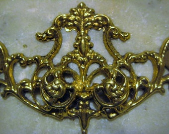 Vintage Escutcheon, Ornate Victorian Style Cast Brass Backplate, Drawer  Furniture Restoration Or Replacement Hardware