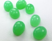 Chrysoprase Cabochons. Natural. AAA Quality. Super Bright. Smooth Cabs. Clean, Bright, and Lovely. 2 pc. 3.11 cts. 6x8 mm (CH496)