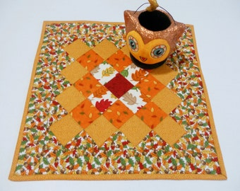 Quilted Table Topper Fall Colors, Quilted Table Runner for Fall and Autumn, Thanksgiving Table Decor, Table Quilt, Gold Orange Green