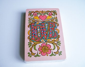 LOVE Playing Cards Vintage Deck Hearts 1970's Groovy Retro Deck In Original Wrapper Valentine's Day