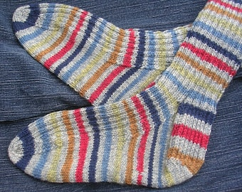 Preppy Hand Knit Socks, grey with multi-color stripes, perfect jeans accessory (think gifting for the hard to shop for man in your life)