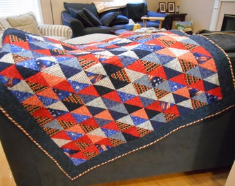 Adorable baby quilt in patriotic red, white and blue