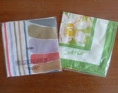 """70s Scarf - Lot of 2 Avon Silken Scents Scarves in Envelope - Yellow Green Pink Floral - Gray Brown Stripes - Vintage 1970s - ~27"""" square"""