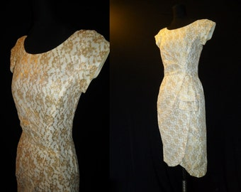 Metallic GOLD Lace WIGGLE Vintage 1950's Bombshell Cocktail Dress XS S