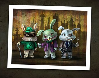 """Gotham City Bunnies Art Print -11"""" x 8.5 - Joker, Riddler and Two-Face"""