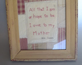 Vintage framed Abe Lincoln Mother cross stitch