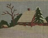 Unused Vintage Needlework Panel Country Cabin Under Blanket of Fresh Snow