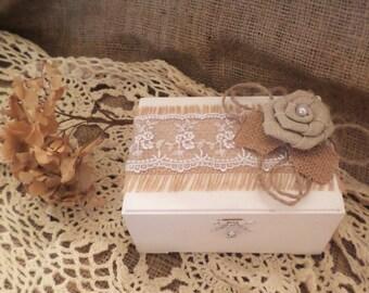 White or Off White Rustic Ring Bearer Box