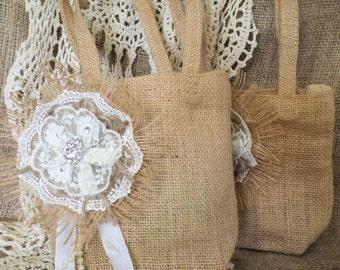 Small Burlap Bag/Flower Girl Bag/Basket