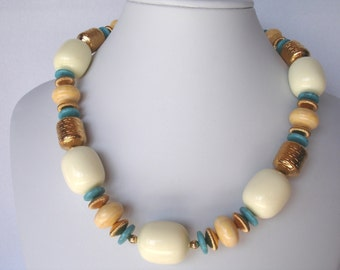 Vintage Monet necklace, turquoise and cream color, 1980's jewelry