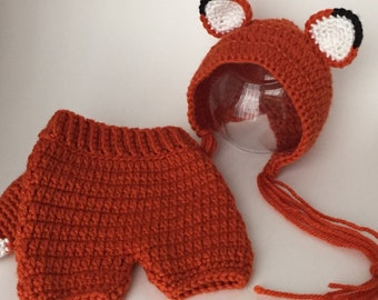 Newborn Baby Photo Prop Fox Hat and Shorts Set with detachable Fox Tail