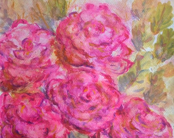 Watercolor Rose Painting, Watercolor Art, Floral Painting, Watercolor Flowers Wall Art, Pink Roses Original Painting on Paper 12x12""