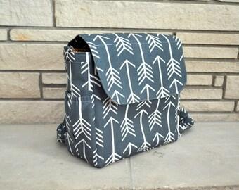 READY TO SHIP Gunmetal Grey Arrow Backpack Diaper Bag - Convertible Diaper Bag - Crossbody bag - Shoulder bag - Diaper Bag