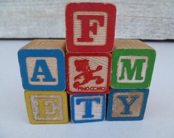 7 Alphabet Wood Block Letters