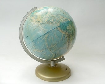Early 1970s Rand McNally World Portrait Globe ... Schoolhouse Industrial, Globe on Stand, Made in USA