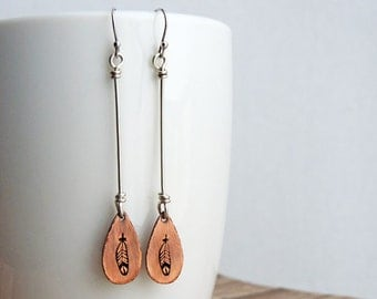 Stamped Feather Earrings - Long  Boho Earrings - Southwest Jewelry - Copper and Sterling Silver - Mixed Metal - Boho Jewelry