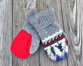 Felted Wool Mittens Large Womans Fleece Lined Nordic Style Pattern Forest Trees Red Grey Green Warm Winter Gear Christmas Gift Outerwear 6