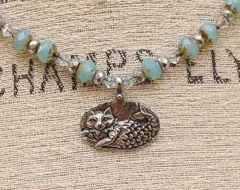 Whimsical Cat Jewelry Silver and Turquoise Cat Necklace Mercat Necklace Colorful Mermaid Cat Jewelry