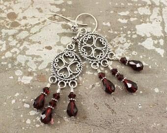 Red Chandelier Earrings Sterling Silver Gypsy Earrings Boho Hippie Chic Crystal Earrings Unique Bohemian Heart Jewelry