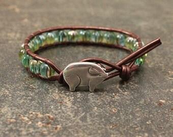 Silver Bronze Turquoise Pig Bracelet Unique Pig Jewelry Beaded Leather Wrap Bracelet